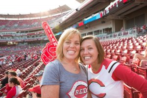 Kidney transplant recipient Allison Kesse at Great American Ballpark before the game portrait